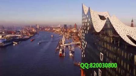 航拍德国汉堡港码头港口货轮塔吊(7785)1080P