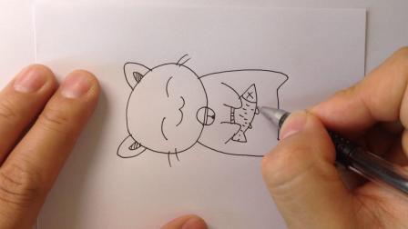 简笔画动物-睡觉的小猫咪