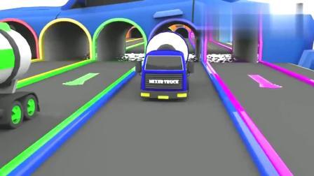 彩色小汽车排队穿越田野场景真好看呀益智动画学英语