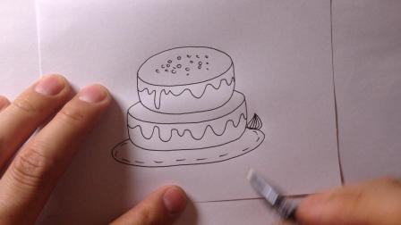 卡通简笔画-生日蛋糕的画法2