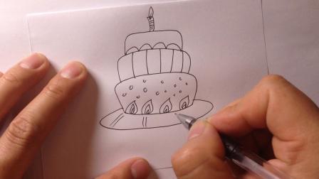卡通简笔画-生日蛋糕的画法3