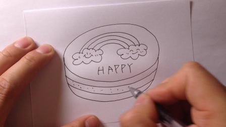 卡通简笔画-生日蛋糕的画法4
