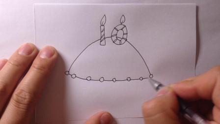 卡通简笔画-生日蛋糕的画法6