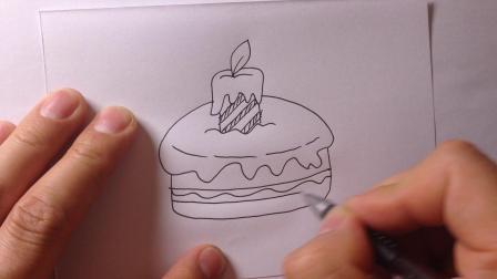 卡通简笔画-生日蛋糕的画法15