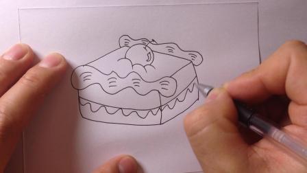 卡通简笔画-生日蛋糕的画法16
