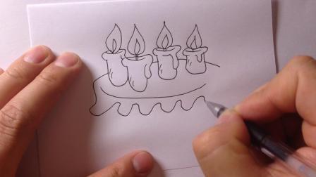卡通简笔画-生日蛋糕的画法20
