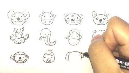 十二生肖简笔画,一个个都很可爱,你是属什么的呢?