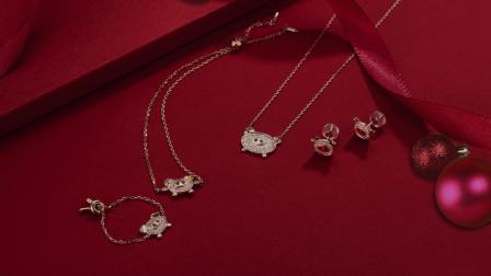 2019猪年生肖18K金镶嵌钻石套装系列戒指 耳环项链 手链
