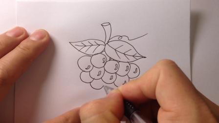 儿童简笔画水果-葡萄的画法