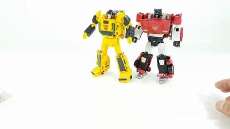 红色跑车汽车机器人玩具变形展示