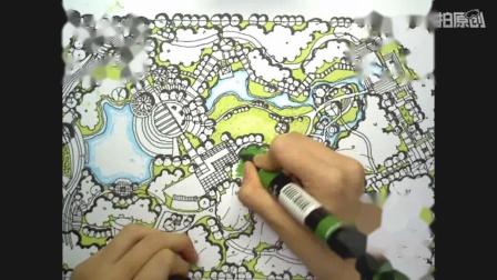 景观上色视频——大禹手绘