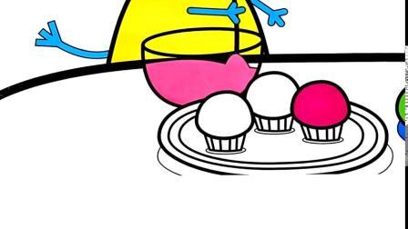 小猪佩奇简笔画之小象艾米莉教小狗丹尼做蛋糕卡通涂色游戏