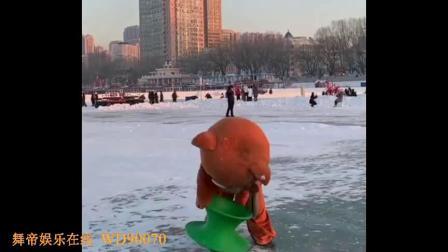 冰面上的网红熊玩起这个来 不要太搞笑,这也没