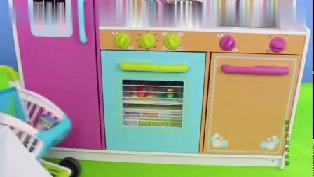 米老鼠芭比公主的厨房玩具,DIY披萨认知各种蔬菜水果6662