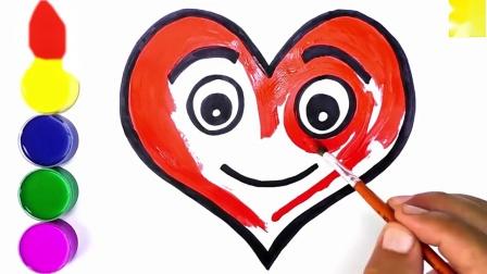 亲子趣味涂色本,绘制可爱的爱心卡通表情包简笔画,涂色后很漂亮