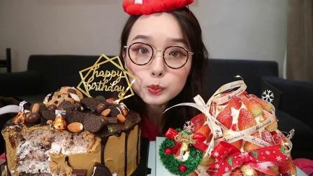生日 必须配高热量巧克力蛋糕 还有圣诞草莓蛋糕哟 【哎哟阿尤上海吃播】过生日 很开心 - 蛋糕finalll