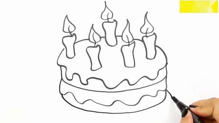 亲子趣味创意简笔画,亲子画好看的生日蛋糕,吹蜡烛许愿啦!