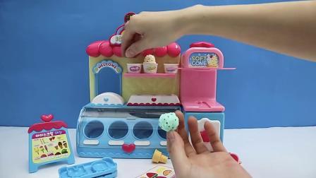冰激凌店彩泥玩具拆箱,手工DIY拼装组合冰淇淋机