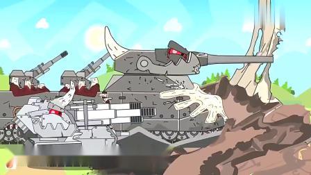 坦克世界动画:kv44M对战镰刀坦克