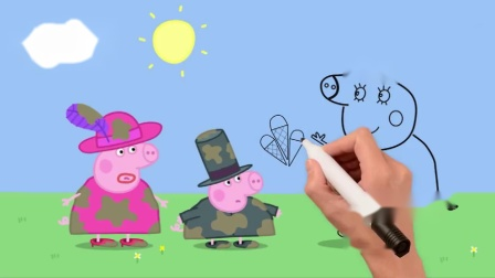 简笔画:小猪佩奇和乔治穿着脏衣服想吃冰激凌,猪妈妈说先洗干净