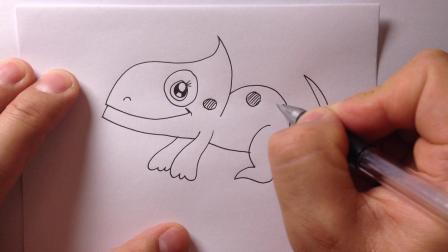 简笔画教程.变色龙的画法