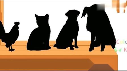 小木槌敲打彩球,落在影子图案上变成了卡通小猪和小狗等动物