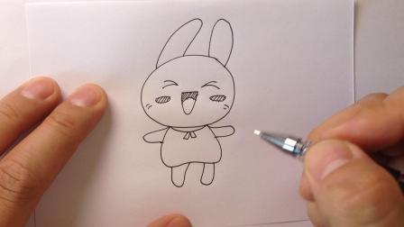 简笔画动物.开心的小兔子