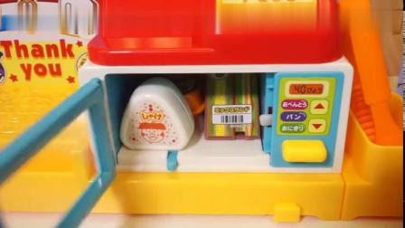 森林家族来面包超人便利店购物的玩具故事
