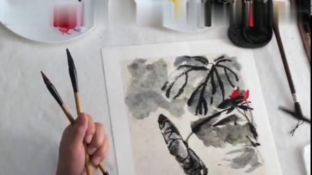 中国画——水墨荷花画法技法技巧视频