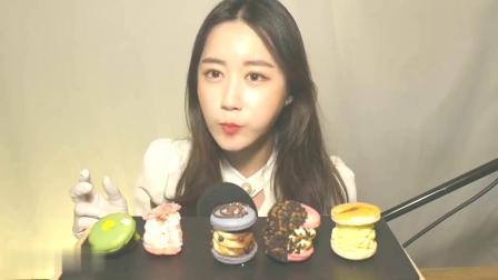 小姐姐吃播5种韩式加厚胖马卡龙,ASMR食音咀嚼音