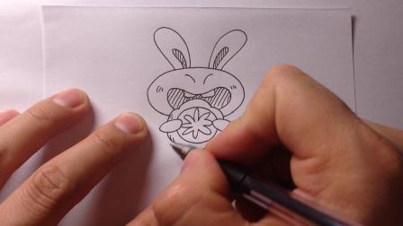 可爱简笔画.中秋吃月饼的小兔子
