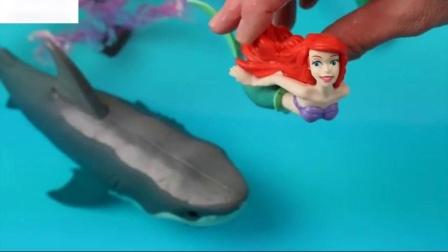 学习与野生海洋动物的颜色玩具在蓝色的浴缸和鲨鱼玩具的孩子