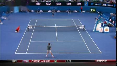 我在费德勒 R.Federer vs 穆雷 A.Murray 2014年澳网四分之一决赛截了一段小视频