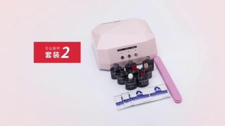 美甲套装组合光疗机美甲灯烘干快 指甲油胶可卸美甲工具套装初学者 17支甲油胶(固定)+粉色光疗机