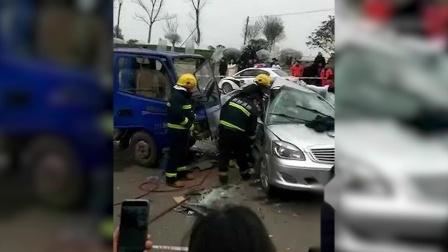 货车与轿车相撞 一名女子被撞身亡