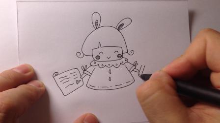 可爱简笔画.手帐小女孩