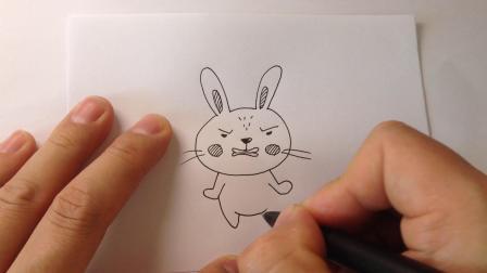 小动物简笔画.生气的小兔子