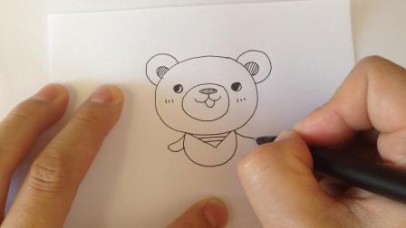 超简单动物简笔画.小熊厨师