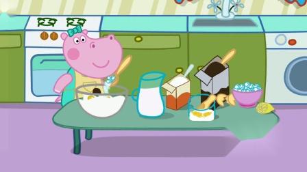 河马佩奇真勤快 跟着奶奶学做巧克力面包游戏