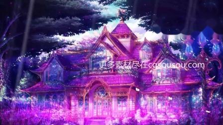 紫色梦幻炫酷婚礼城堡展示唯美背景视频素材