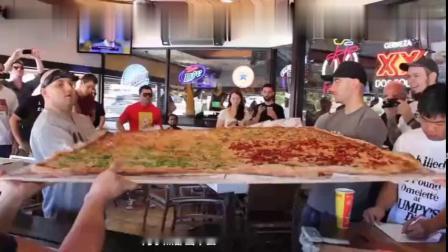 国外神奇的披萨店,最大个的披萨有54寸,制作过程不可思议!