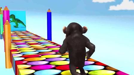 英语早教动画:小猴子跑得真快,路上还遇到大狮子