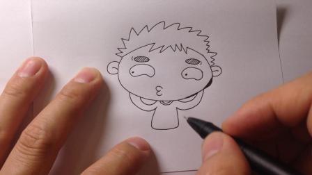 卡通人物简笔画.散步的小男孩