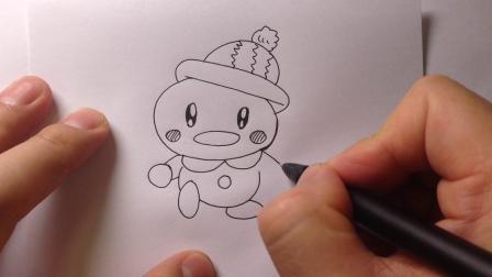 可爱动物简笔画.刨冰块的小鸭子