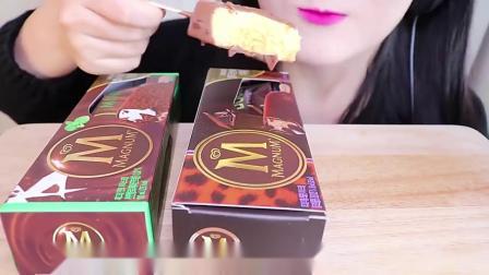 吃播韩国小嘴妹妹今天挑战3种不同口味梦龙冰激凌!