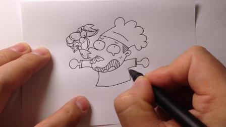 人物简笔画.被龙虾夹到鼻子的厨师