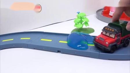 北美玩玩具:小公交车太友来啦!挖掘机动画片?汽车儿童故事合家欢