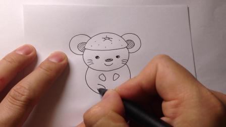 可爱的水果老鼠简笔画.橙子鼠