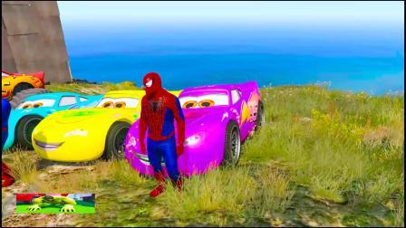 彩色汽车闪电麦昆和蜘蛛侠卡通 认识颜色 学习英语 英语益智早教