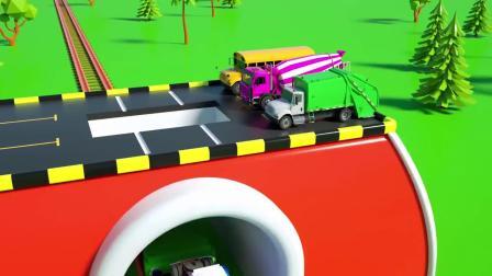 装载染料的大卡车 挖掘机、推土机、拖拉机等工程车表演玩具视频